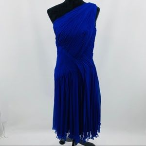 Tadashi Collection Blue One Shoulder Silk Dress